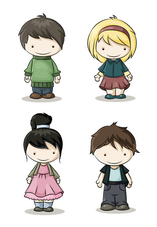set of cute boys and girls in colorful clothes Illustration