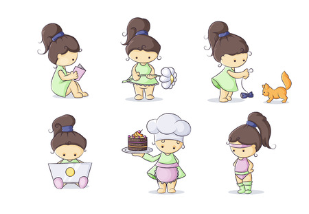 color set of cute little girls Stock Vector - 24712267