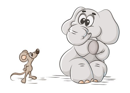 cartoon illustration cowardly elephant and mouse Vector