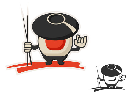 sushi chopsticks: vector character icon uniting wok and roll