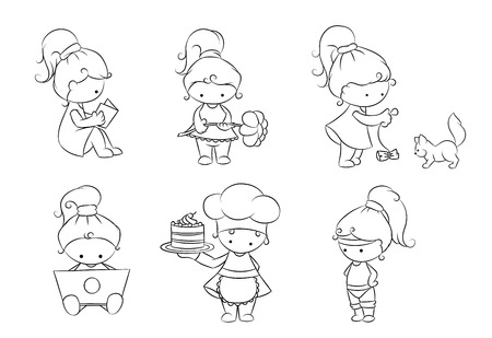 black and white set of cute cartoon girl Stock Vector - 24712273