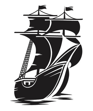 vector black and white schematic drawing of the ship Reklamní fotografie - 24712271