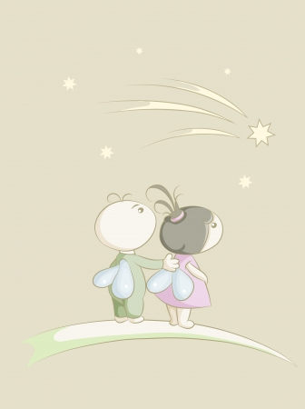 two lovers moth look at a falling star Vector