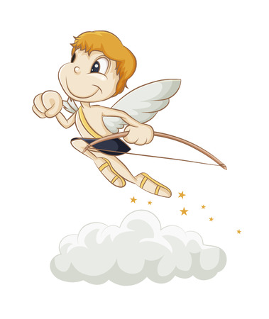 little Cupid flying above the clouds