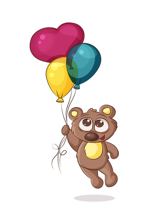 Bear flying on colorful balloons Illustration