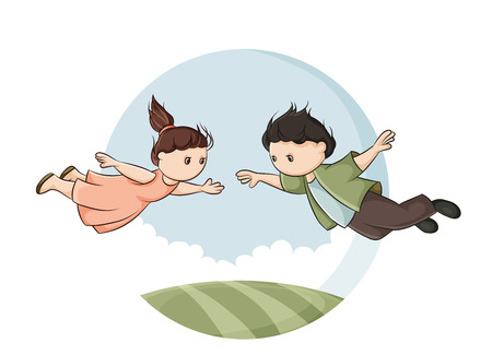 boy and girl flying above the ground and stretch to each other