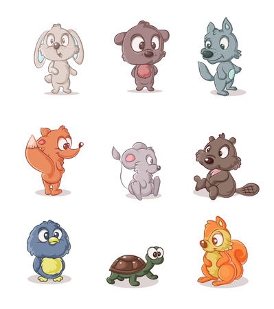 color set of small forest dwellers Illustration