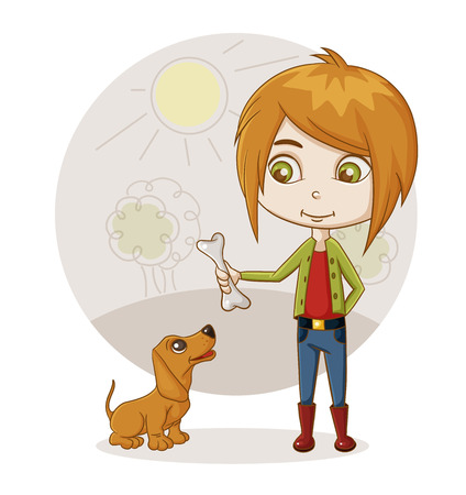 color illustration of a boy playing with a dog