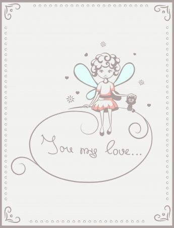 color card with a picture of a little fairy Illustration