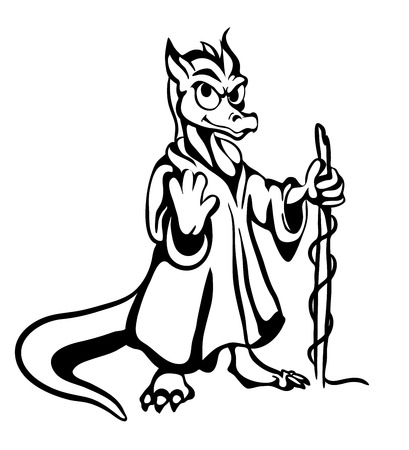 black-and-white character imaginary  lizard
