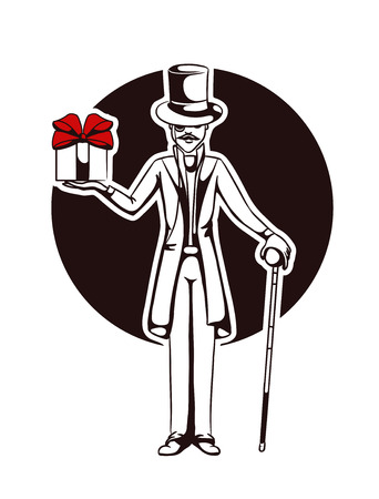 silhouette of a gentleman with a gift
