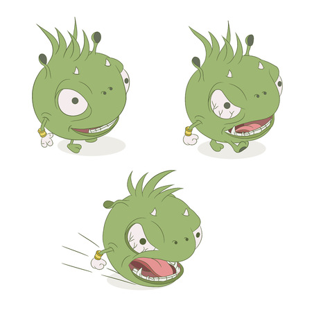 irritation: colored monster character on a white