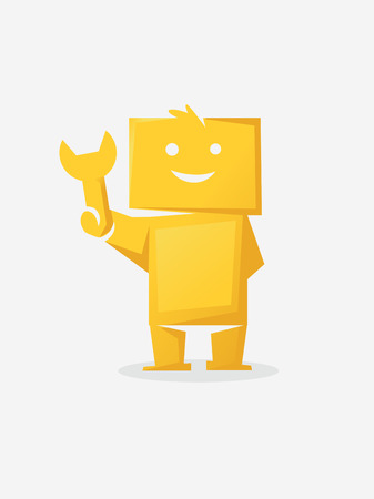 color icon stylized man with a spanner Vector