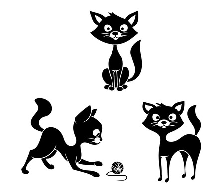 Three black-and-white cat silhouette on a white