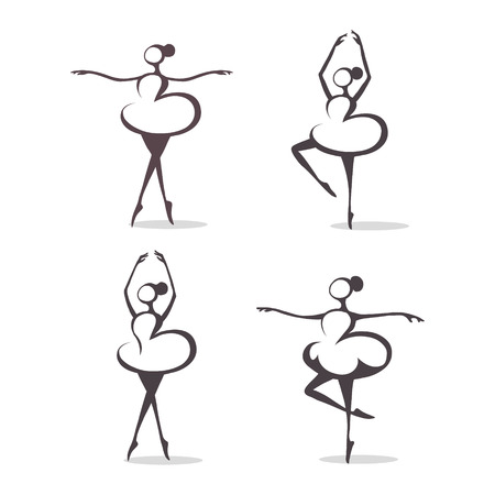 black and white set of dancers Vector