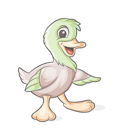 cartoons animals: vector colorful characters duckling on white background