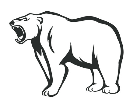 vector silhouette of an angry bear Illustration