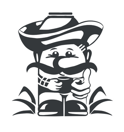 black and white stylized icon milkman