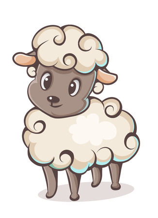 baby lamb: colored lamb character on a white background