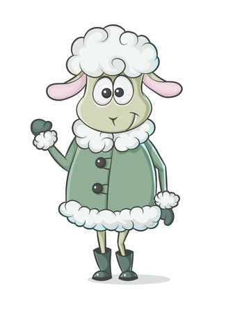 colored lamb character on a white background Vector