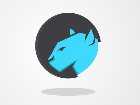 color icon wild cat in circle Vector