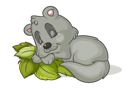 Colored cartoon illustration of a little sleeping raccoon  Illustration