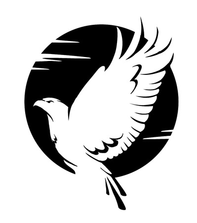black and white vector illustration of an eagle in flight