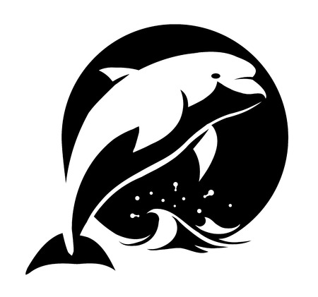 outline drawing of fish: black and white vector illustration of a dolphin above water Illustration