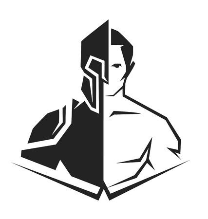 반 인간, 반 로봇의 벡터 검은 색과 흰색 실루엣 일러스트