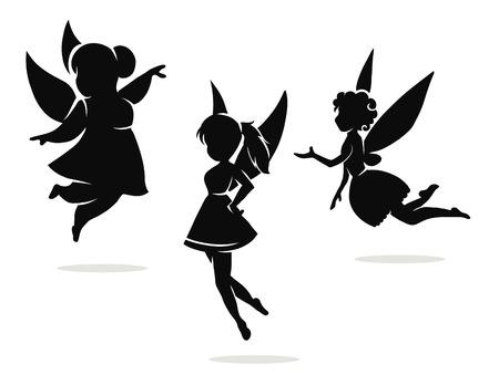 黒と白のベクトル シルエット小さな妖精