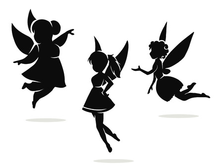 fantasy fairy: Vector black and white silhouettes little fairies