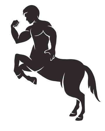 vector black and white silhouette of a mythical creature centaur Vettoriali