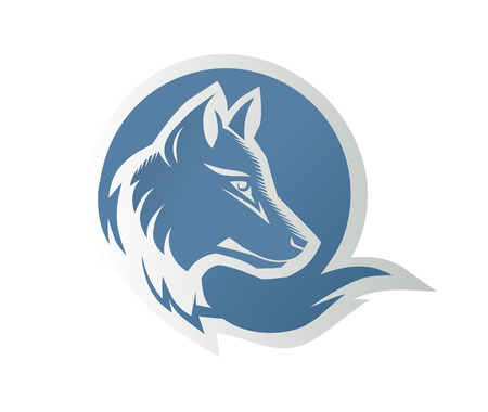 blue muzzle of a wolf on a background of the moon round Vector