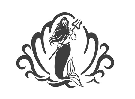 mermaid: Vector black and white image of the Sea King