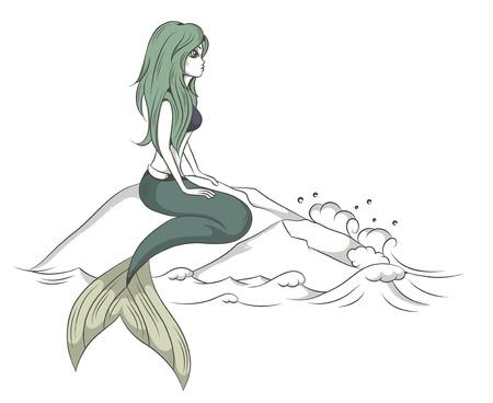 cola mujer: ilustraci�n vectorial de una sirena que se sienta en una roca sobre el mar Vectores