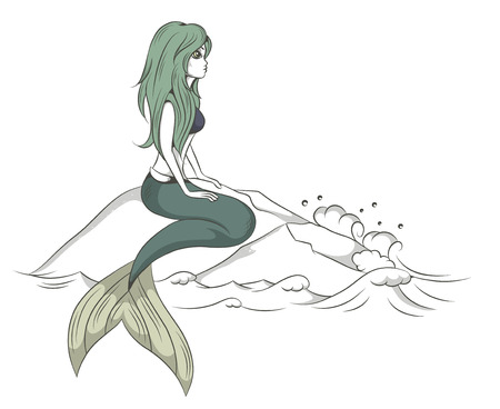 adult mermaid: vector illustration of a mermaid sitting on a rock above the sea Illustration
