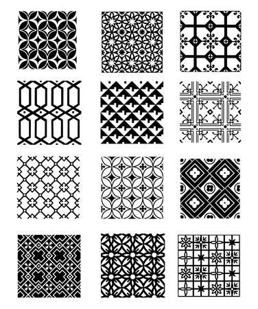 black and white pattern set Illustration