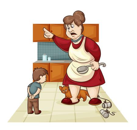 cartoon illustratie van waar de moeder berispt zijn zoon