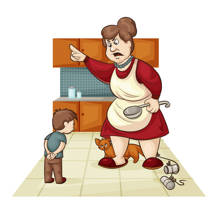 obedience: cartoon illustration of where the mother scolds his son