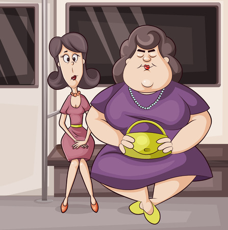 body fat: vector cartoon illustration of two women skinny and full  in subway