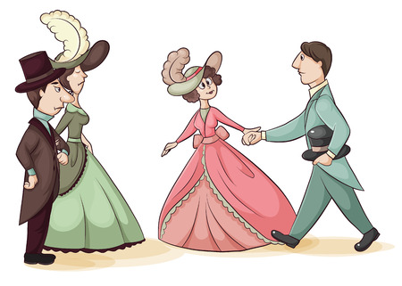 acquaintance: cartoon illustration of a young girl which acquaints young man with parents