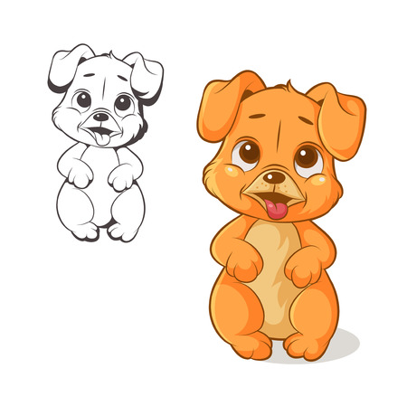 Vector illustration of funny cartoon puppy on a white background