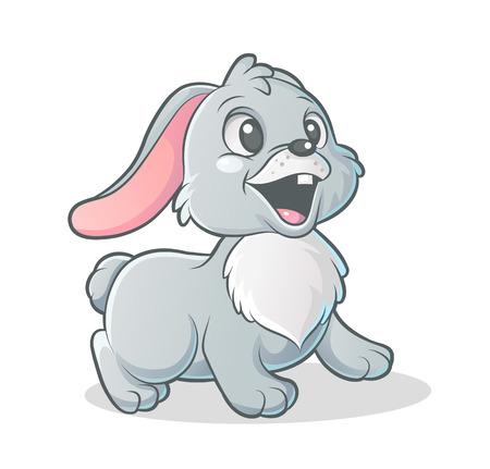 whisker characters: Vector de dibujos animados conejito sobre fondo blanco