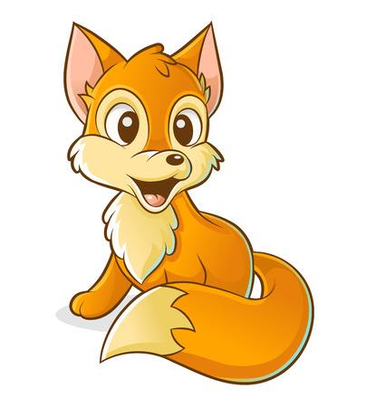 Vektor-Cartoon-Fuchs auf weißem Hintergrund