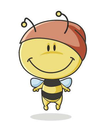 Cute cartoon bee on white background Vector