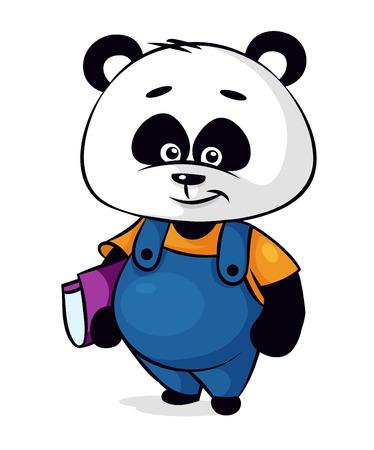 babyish animal: Panda cartoon character with book on white background Illustration