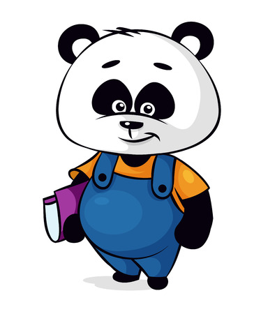 Personaje de dibujos animados Panda con el libro en el fondo blanco