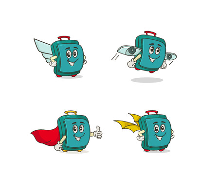 Cartoon funny suitcase character on white background Illustration