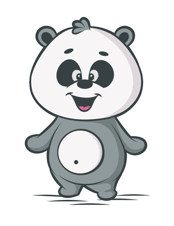 Panda cartoon character on white background Vector