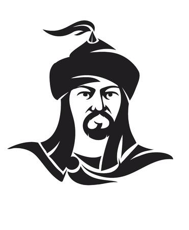 Mogolian man character isolated on white background Ilustrace